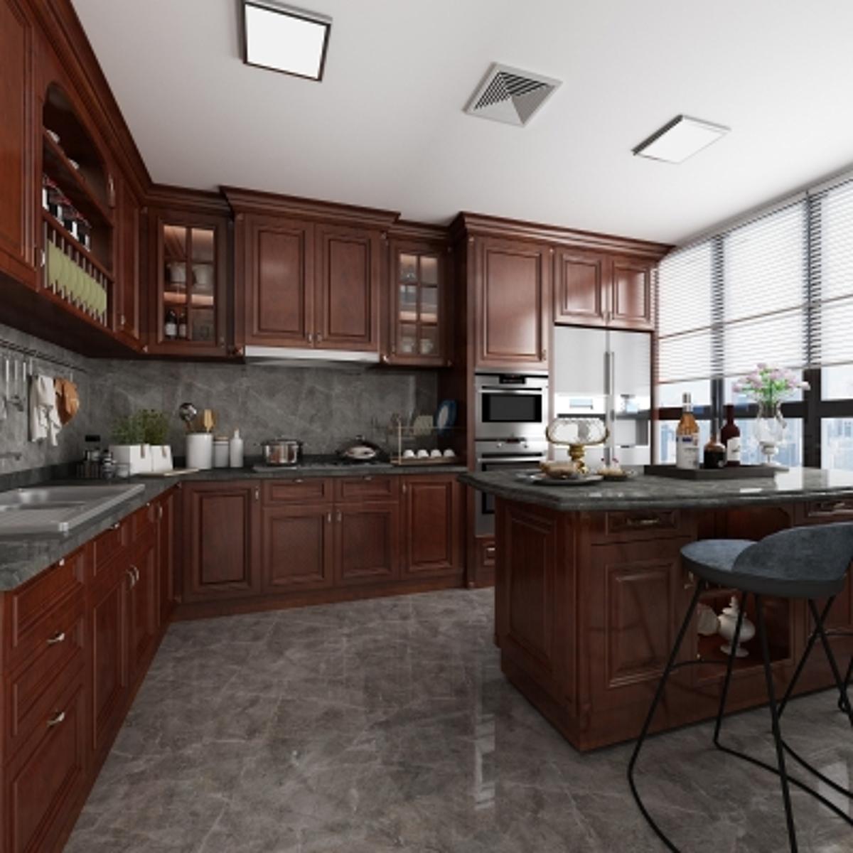 cg228美式厨房橱柜模型