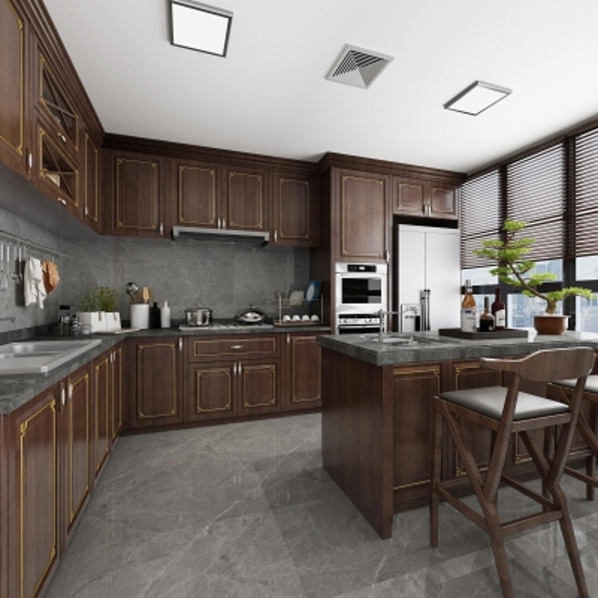 cg229新中式厨房橱柜模型