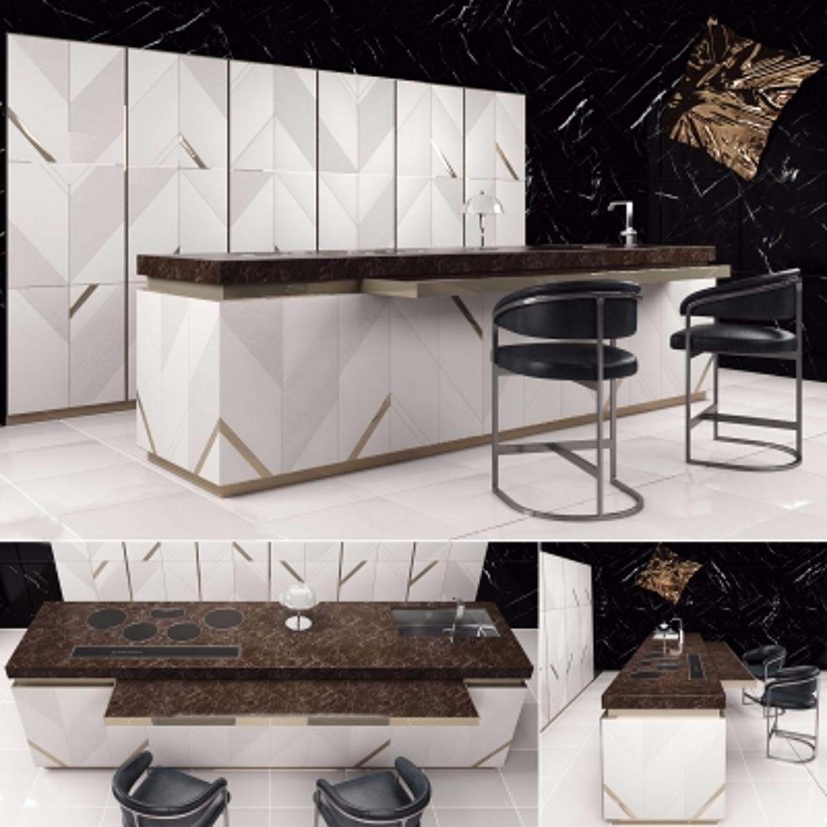 cg231现代橱柜吧椅组合模型