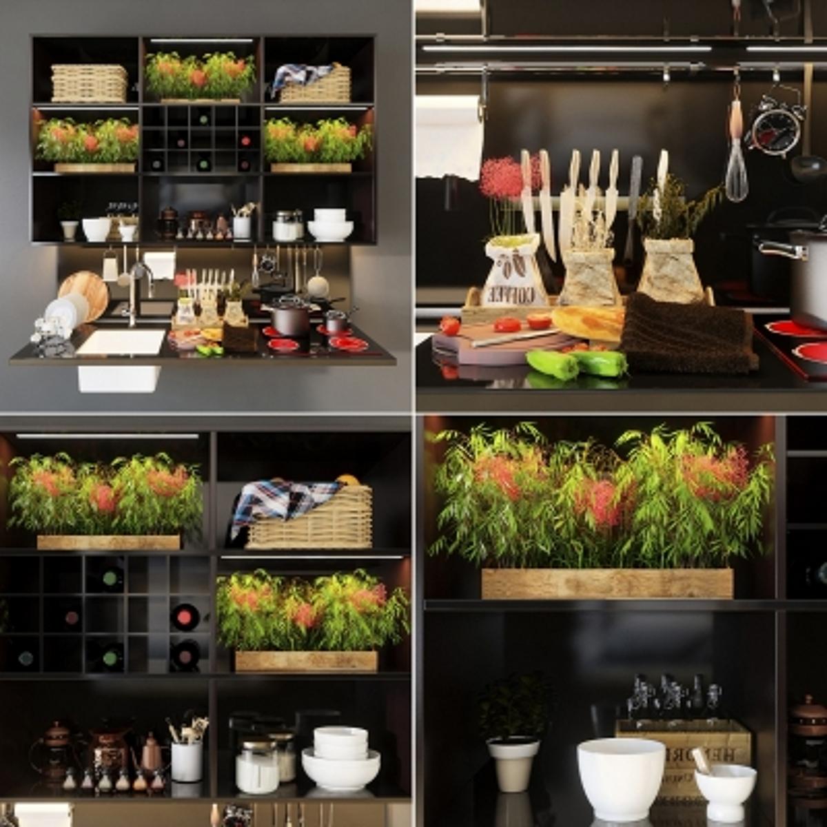 cg233现代橱柜厨房器具摆件组合模型