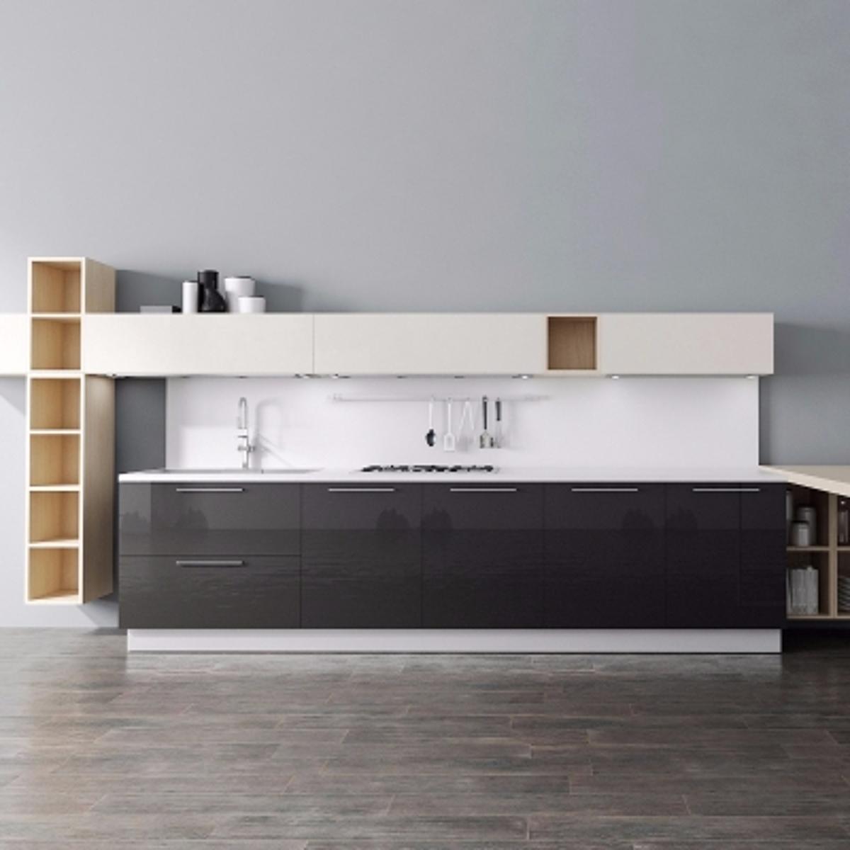 cg234现代橱柜餐桌组合模型