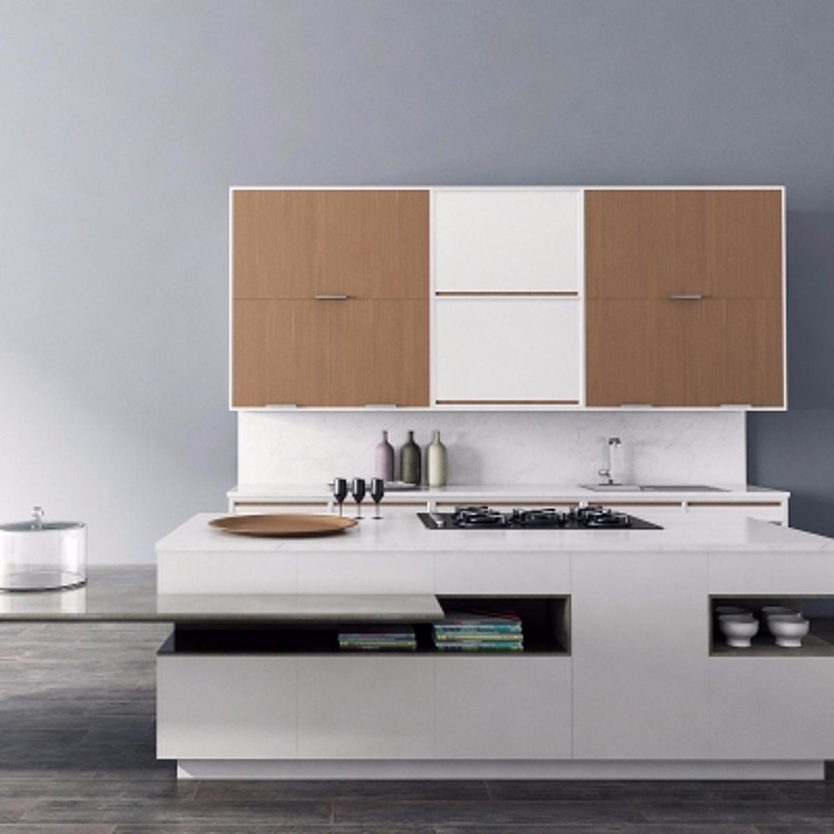 cg236现代实木橱柜餐具组合模型