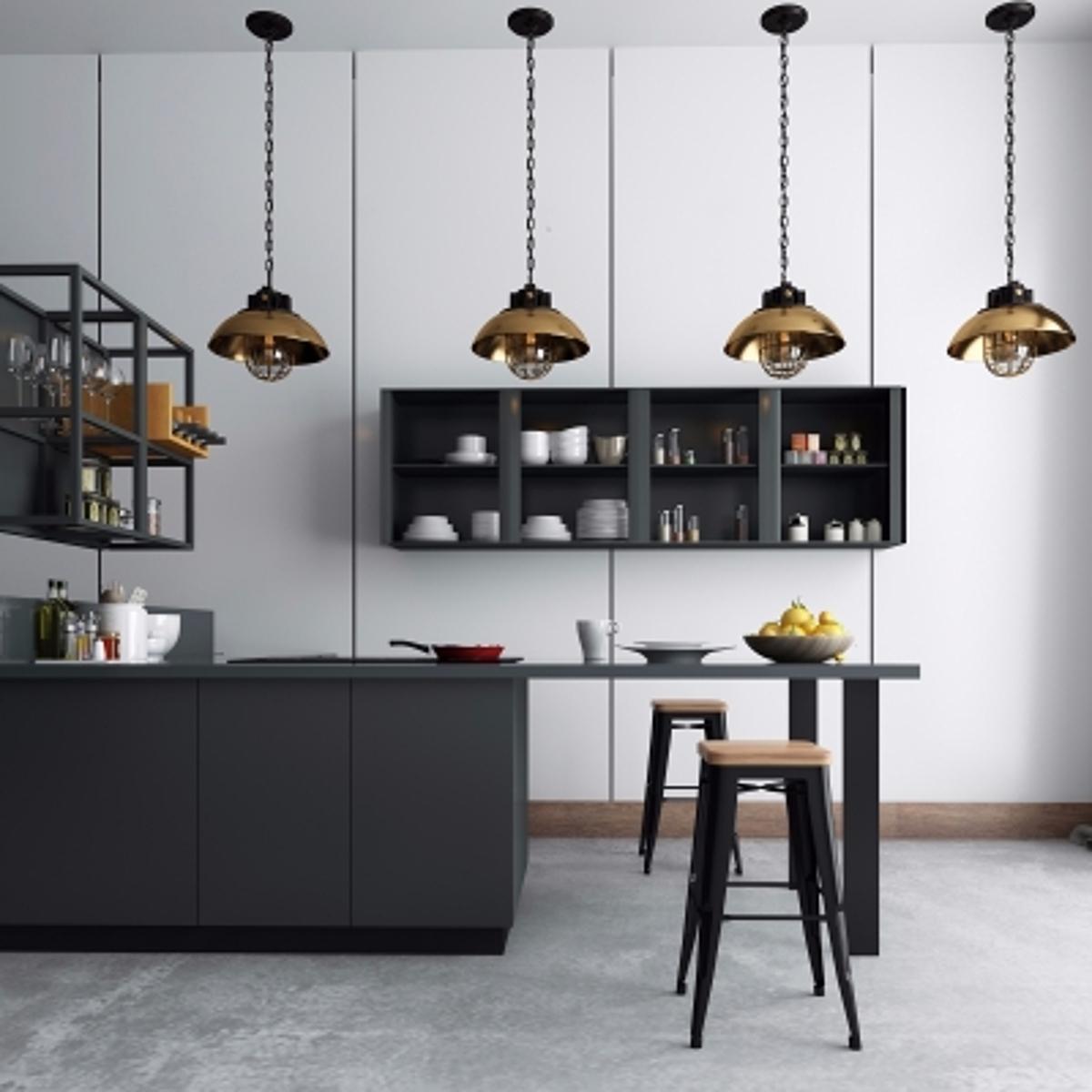 cg239现代橱柜餐具吧椅吊灯组合模型