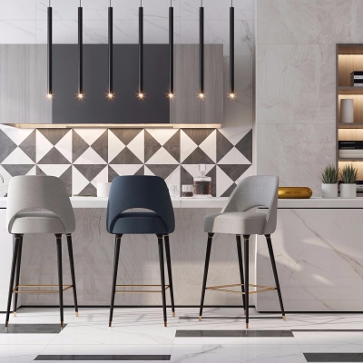 cg240现代厨房橱柜吧椅吊灯组合模型