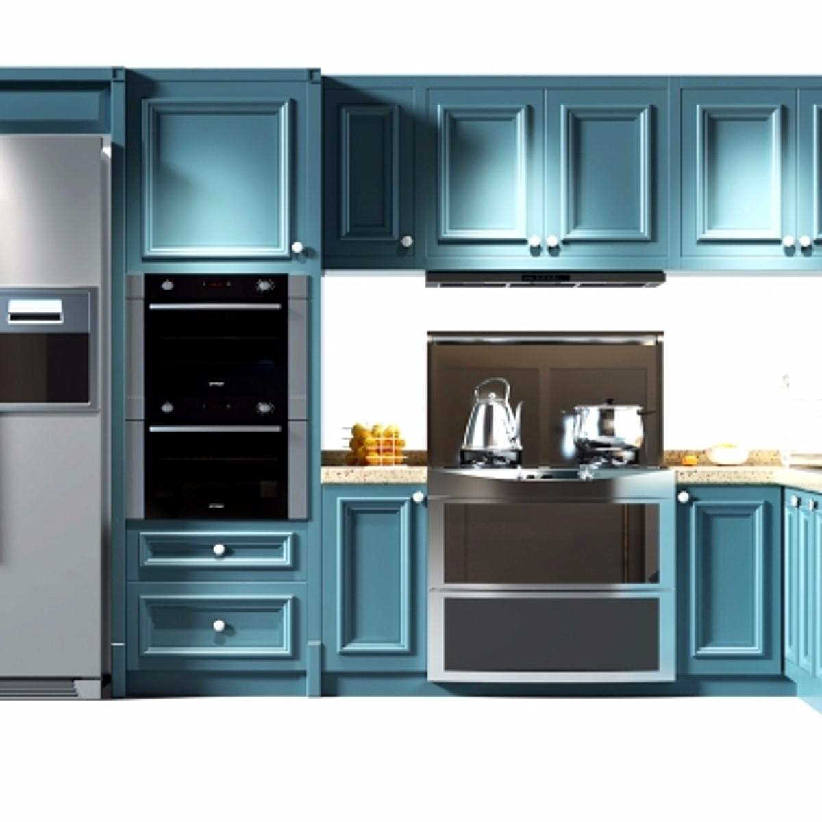 cg241现代实木橱柜冰箱组合模型