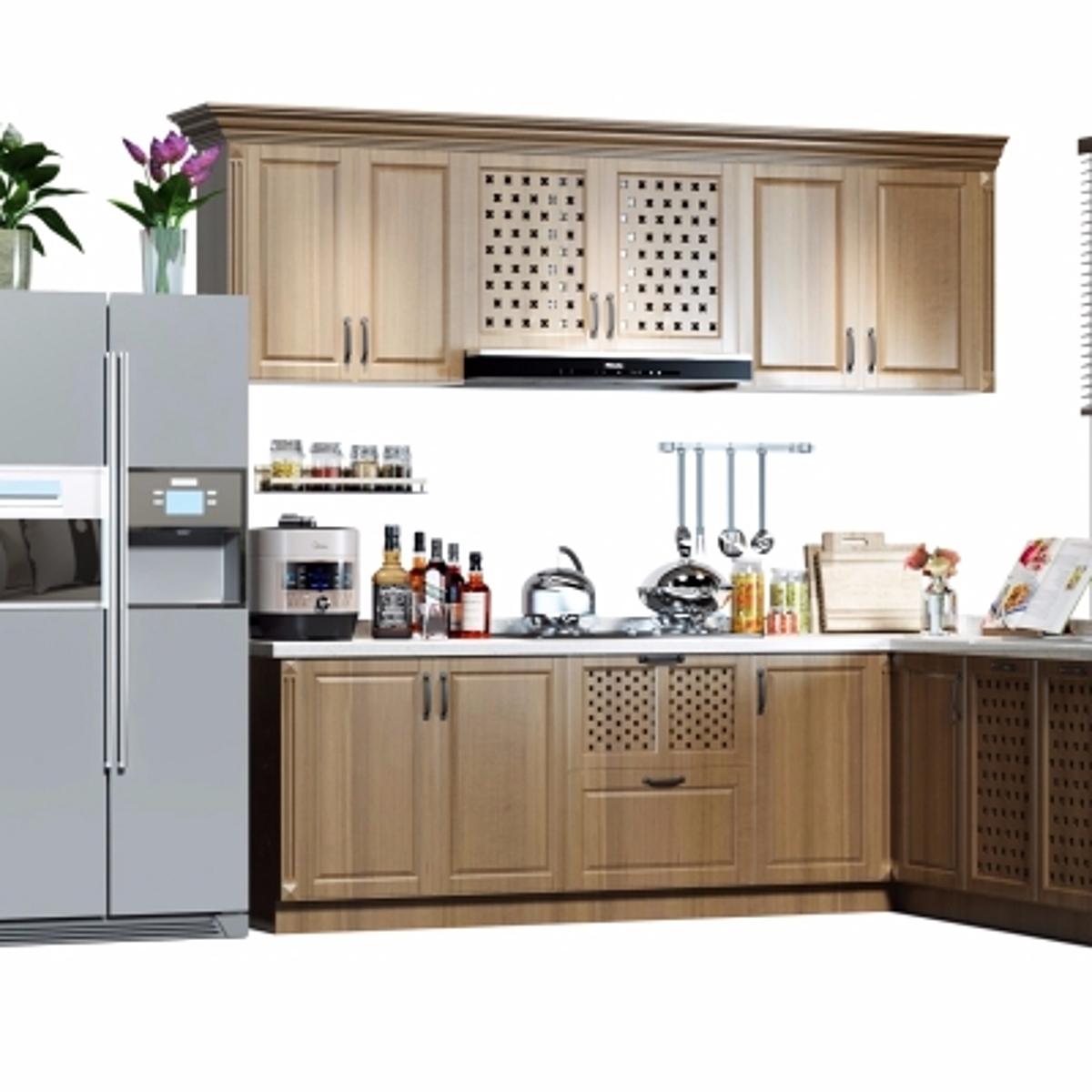 cg242现代橱柜冰箱餐具组合模型