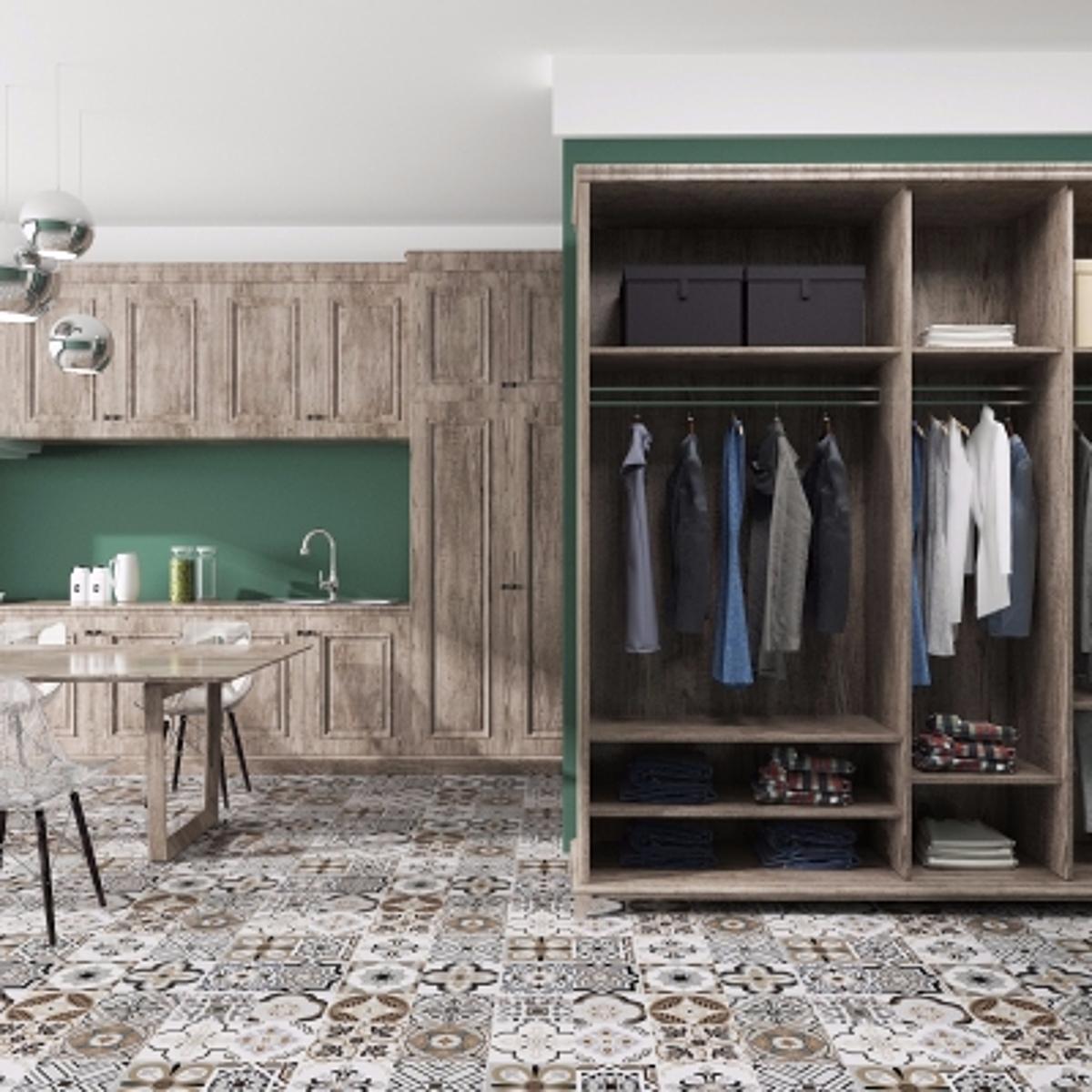 cg246北欧实木橱柜衣柜模型